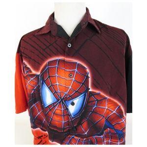 Vtg Marvel Spiderman Large Button Up S/S Shirt